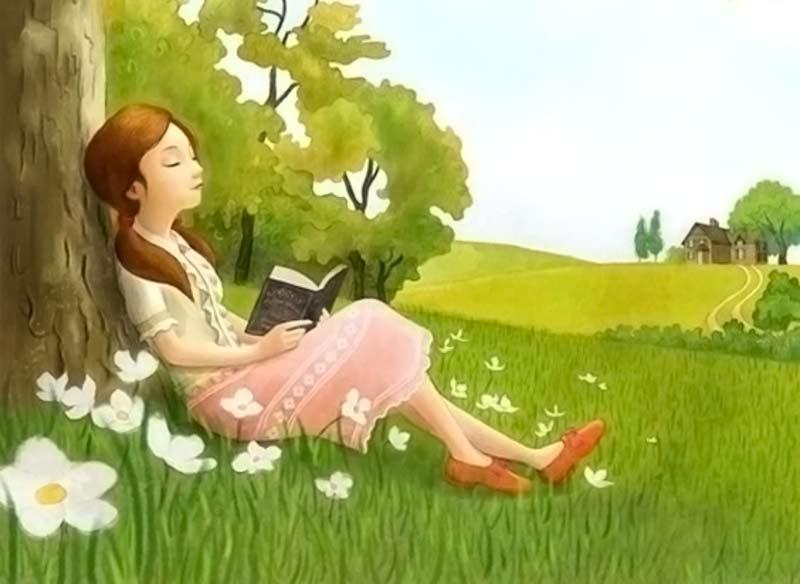 Dibujo de una mujer leyendo un libro